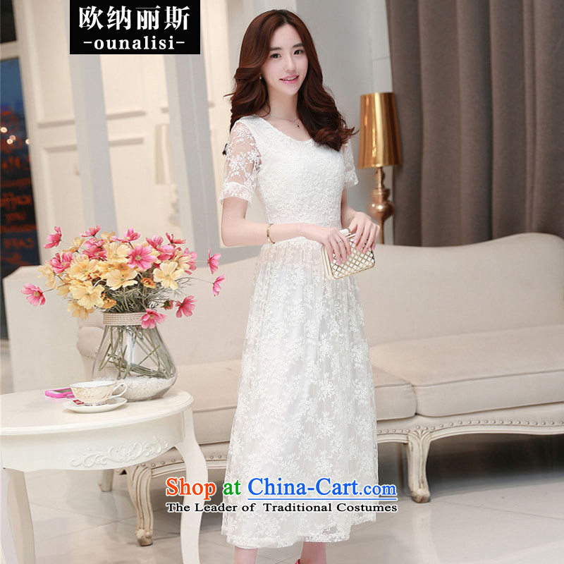 The OSCE, Alice?2015 Sau San video thin temperament stamp embroidery foutune chiffon lace long skirt evening dress bridesmaid Service Bridal Wedding White?M
