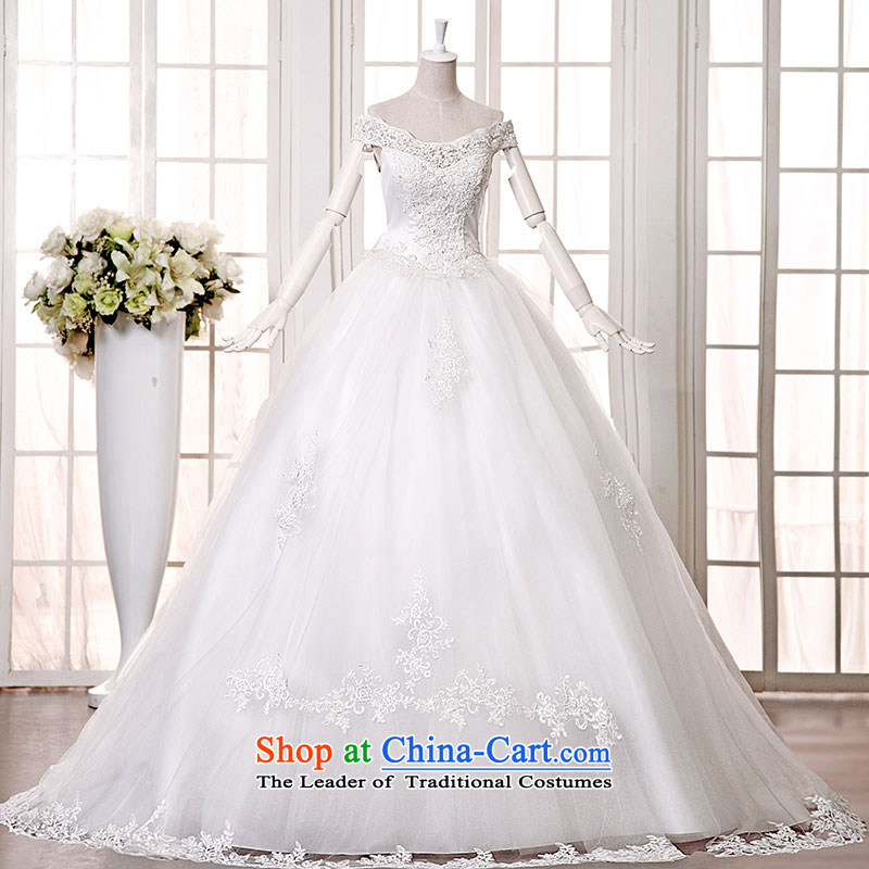 Millennium bride�2015 Spring/Summer new stylish graphics thin lace a shoulder white long drag field tail bride wedding dresses H9236 white streaks)/waist to skirt of approximately 165 M�S