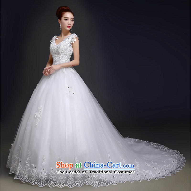 The first white wedding dresses into about the new 2015 Summer stylish shoulders lace tail large wedding band video thin white marriages S
