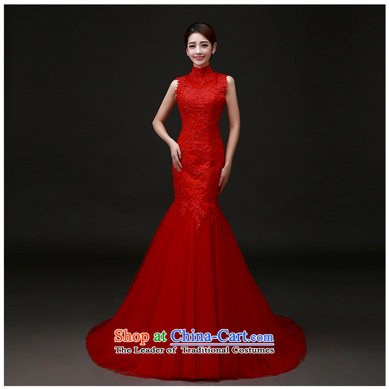 The beautiful word yarn shoulder and bride rocketed to Sau San Package Wedding 2015 new products lace graphics skinny tail wedding dress tailored H891 RED L