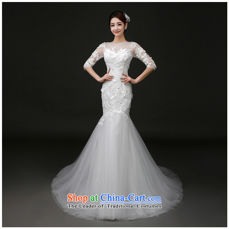 The beautiful word yarn shoulder tail Wedding 2015 new graphics package and Sau San thin lace elegant long sleeves with foutune crowsfoot wedding dresses and the Factory Outlets white S