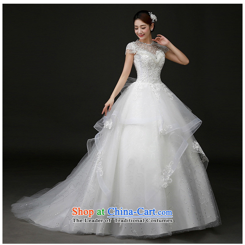 The beautiful new bride yarn 2015 word package shoulder stylish and elegant palace wind stylish and unique edging shoulder small trailing white wedding?H923 S
