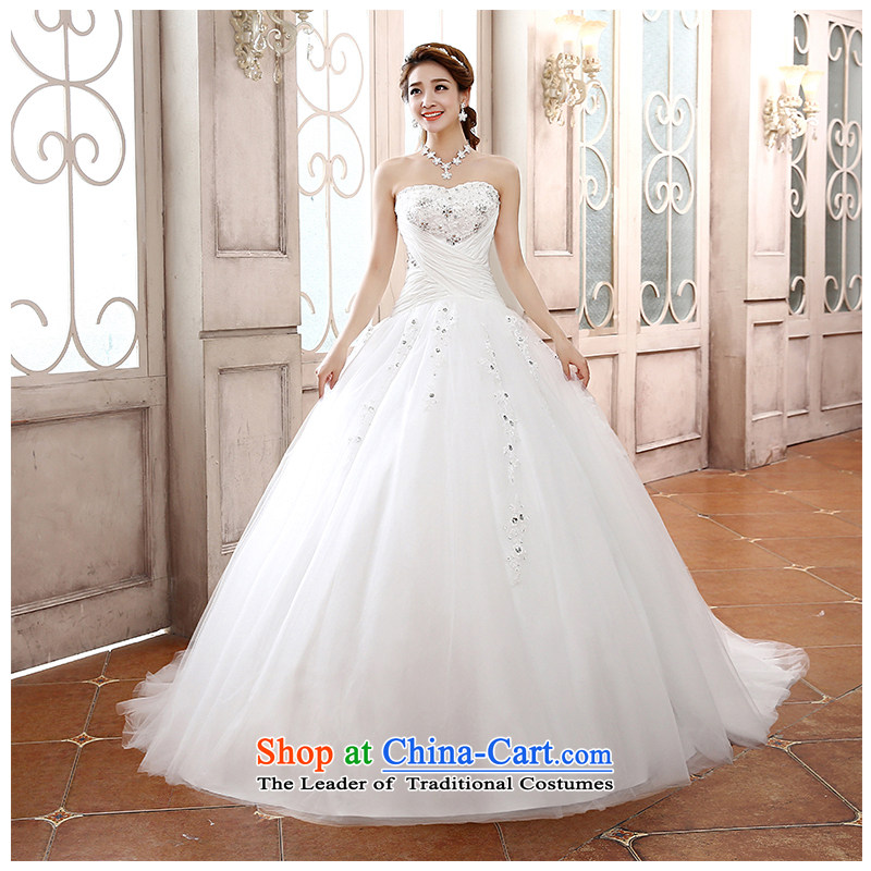 The beautiful new bride yarn 2015 anointed chest tail marriage wedding Hand-stitched chic simplicity with Sau San lace wedding dress?H811?white customizable