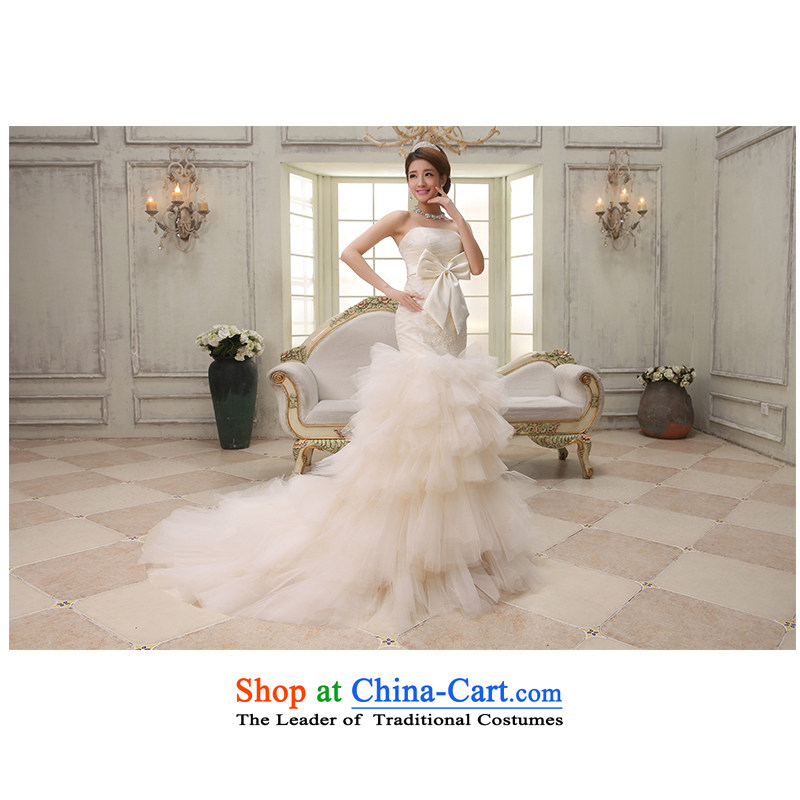 The beauty of the new 2015 anointed chest and small tail package wedding elegant front stub long after the bride wedding dresses video appeared to Sau San tie H749 custom light champagne?XL