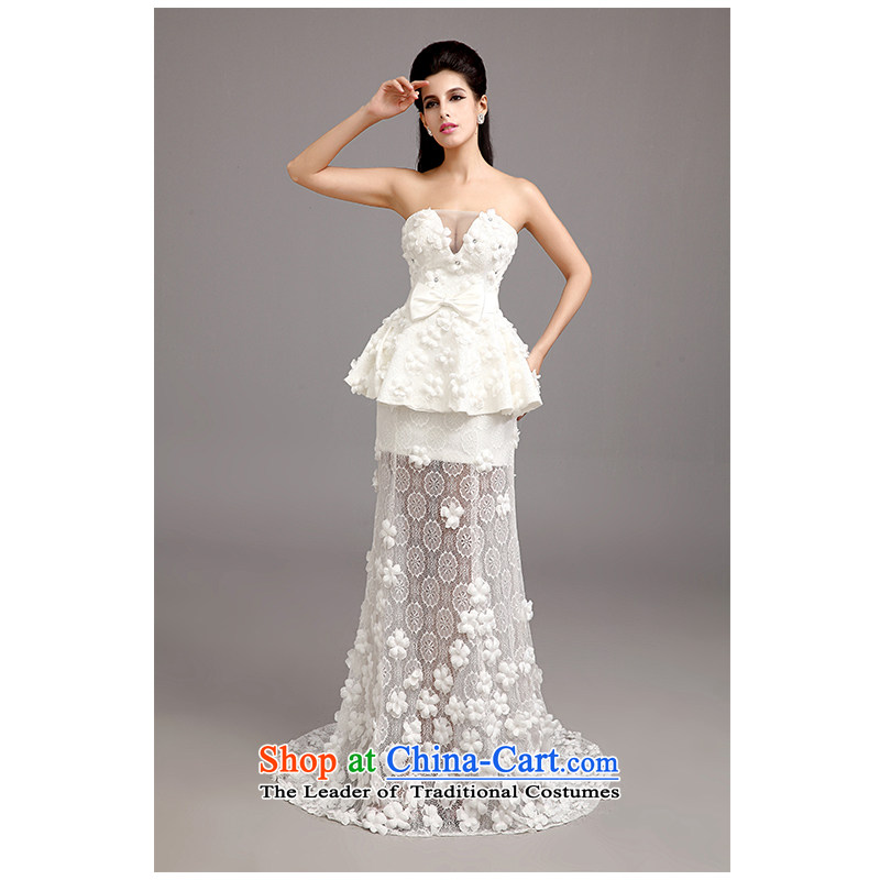 The beautiful new yarn and sexy V-Neck package and small trailing lace wedding Korean sexy Sau San tie long bride wedding 15 years New Products Factory Outlet white L