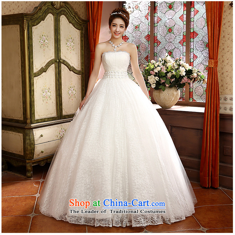 The beauty of the new 2015 wiping the chest to bride wedding stylish and elegant beauty lace tie A swing bon bon skirt sweet wedding H805 white?S
