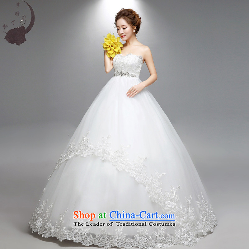 The leading edge of the Top Loin of 2015 days of autumn and winter wedding dress the new Korean version of pregnant women with chest align Wedding 1801 White XL