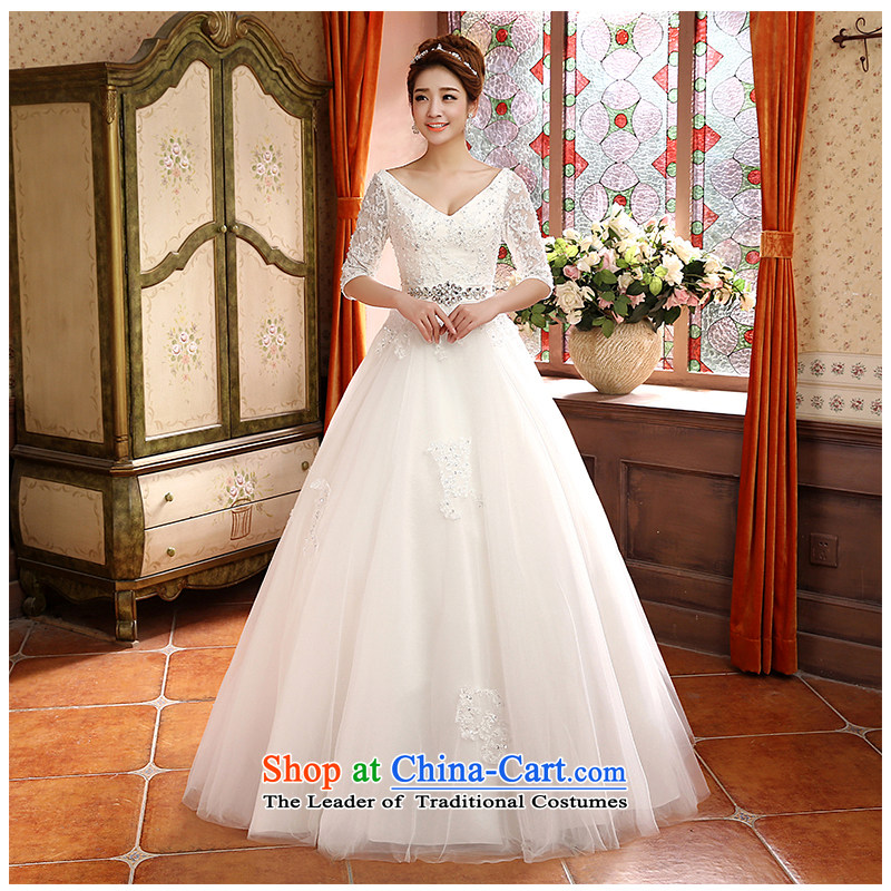 The beautiful word yarn shoulder bride Wedding 2015 new stylish and simple graphics thin marriage wedding shoulders V-neck in cuff Sau San lace straps H813 white customizable