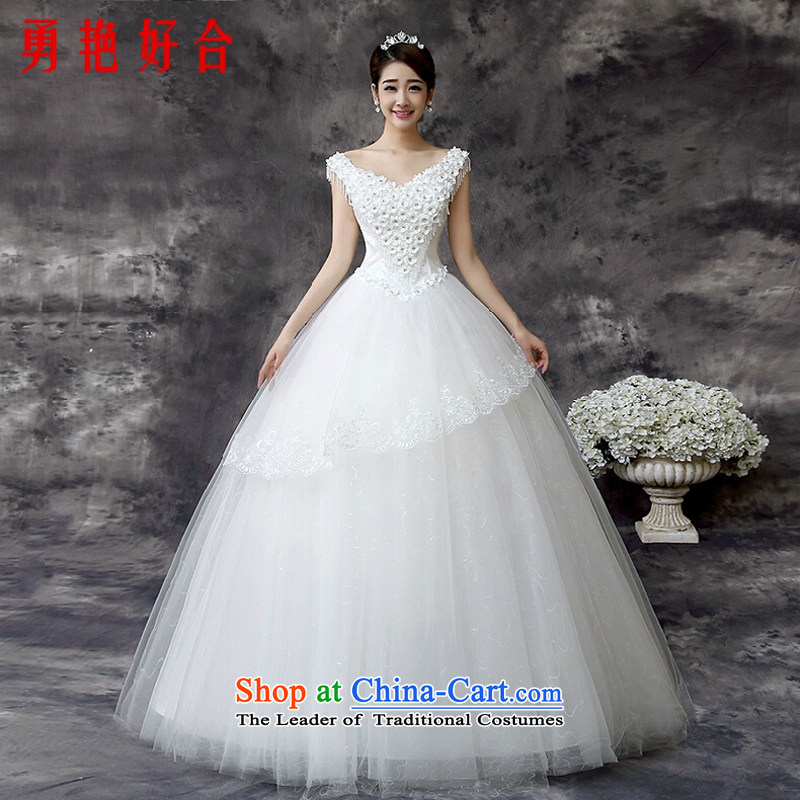 Yong-yeon and wedding dresses 2015 Spring Korean brides wedding a field to align the shoulder shoulders large summer lace princess skirt white�L