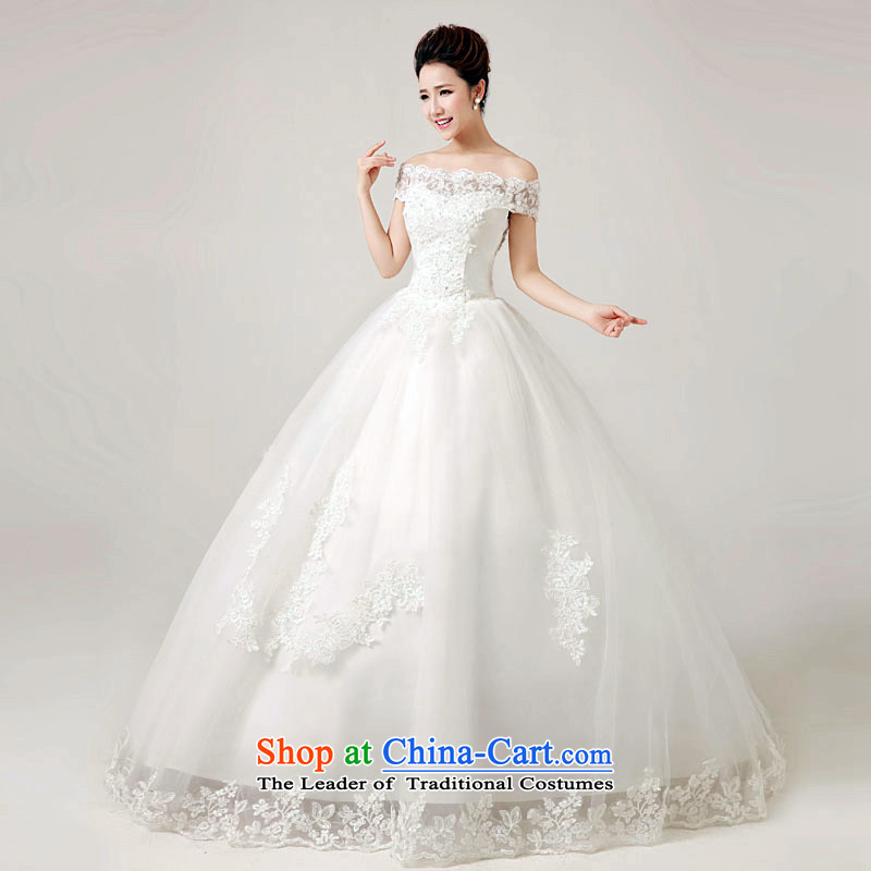 The first white wedding dresses into about the spring and summer of 2015, a new field shoulder lace tail to align the stylish straps wedding white tailored contact customer service