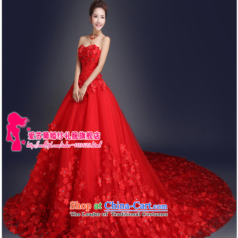 The new red and Chest Flower wedding tail Korean Sau San wedding long graphics thin red tail 2m tail聽XXXL