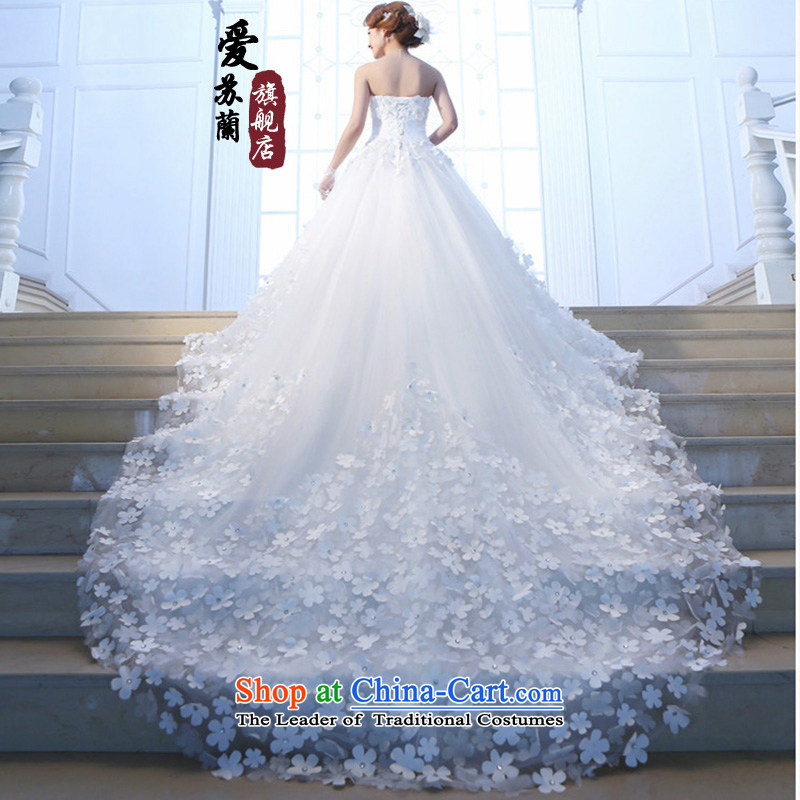 The new red and Chest Flower wedding tail Korean Sau San wedding long graphics thin red tail 2m tail聽XXXL, Su-lan , , , Love shopping on the Internet