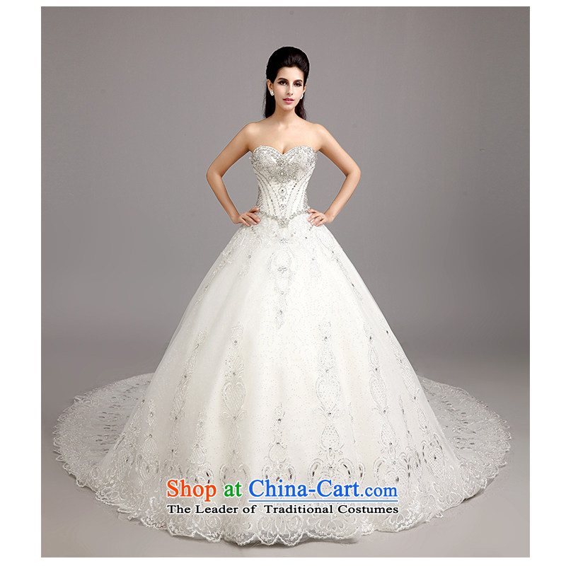 The beautiful bride anointed chest drag yarn tail Wedding聽2015 New Sau San tie plain manual marriage sewing luxury European and American big tail wedding photography package mail white customizable