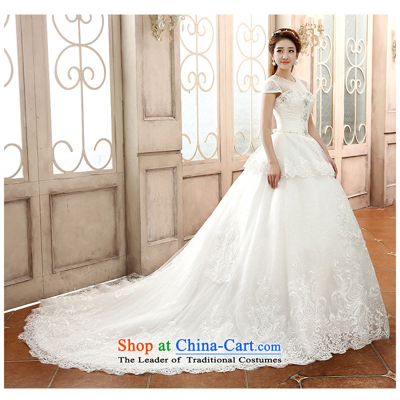 The beautiful word yarn shoulder length tail Wedding 2015 new elegant beauty with sexy shoulders edging back bride large tail wedding dresses white S