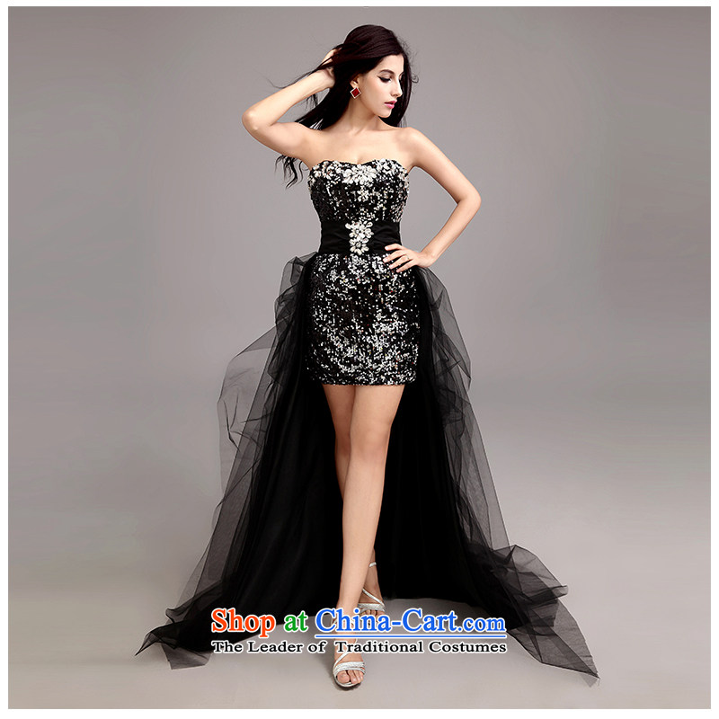 The beauty of the new Bush and skirt package chest fresh drink short of Sau San bride Wedding On-chip integrated with removable two through live tail stage skirt D907 black customizable
