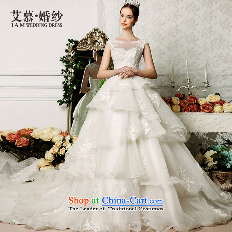 The wedding dresses HIV 2015 new ling Ng shoulders bon bon skirt lace long tail wedding ivory?M