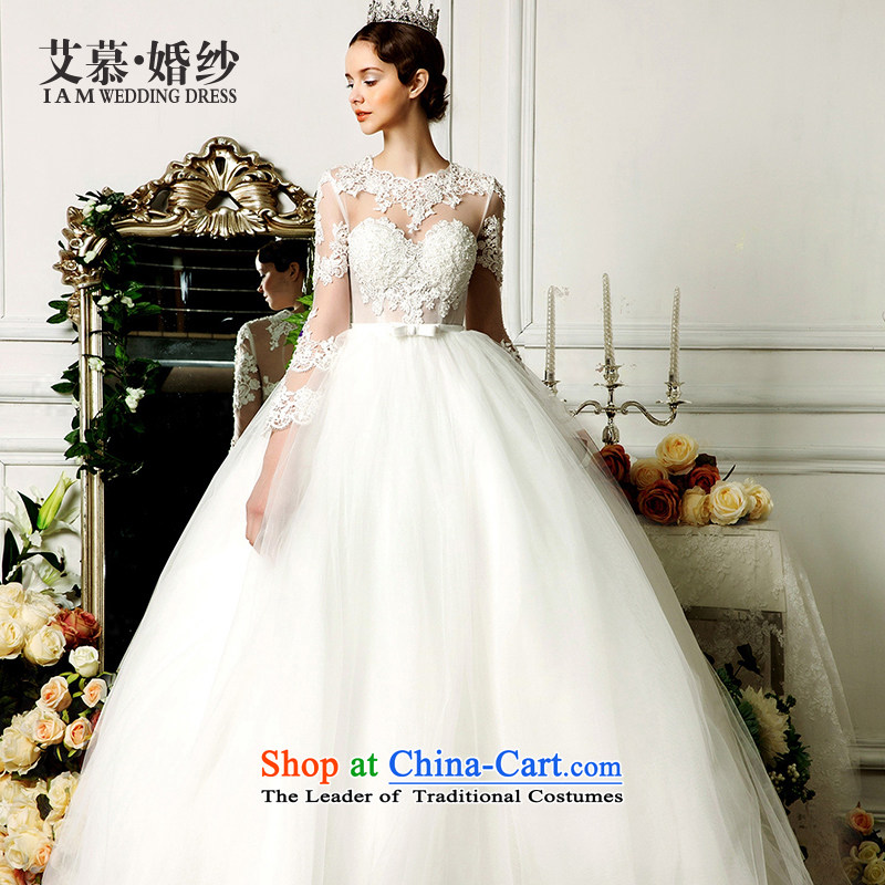 The wedding dresses HIV 2015 new dreams to align the angel bon bon skirt long-sleeved lace wedding ivory S