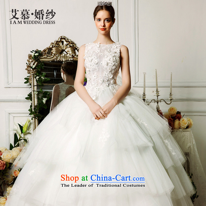 The wedding dresses HIV 2015 New Shizuka shoulders stereo petals bon bon skirt lace wedding ivory�L