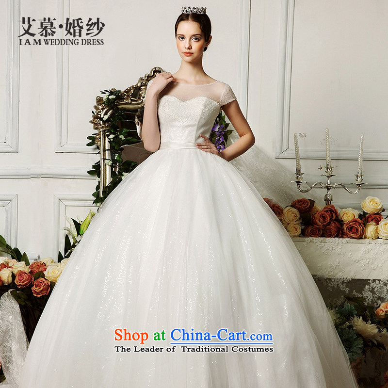 The wedding dresses HIV 2015 new cross-ching gradient manually string Pearl Package shoulder wedding ivory�M