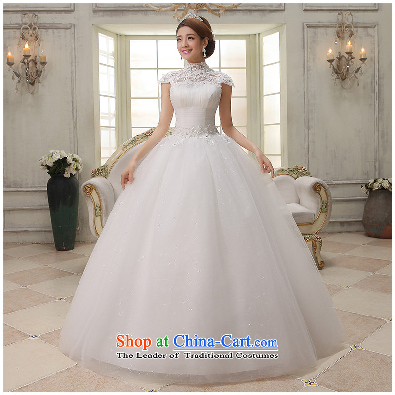 The beautiful word yarn shoulder bags your shoulders to wedding dresses Summer 2015 new stylish lace simplicity to align A swing strap Sau San video thin wedding dresses White M