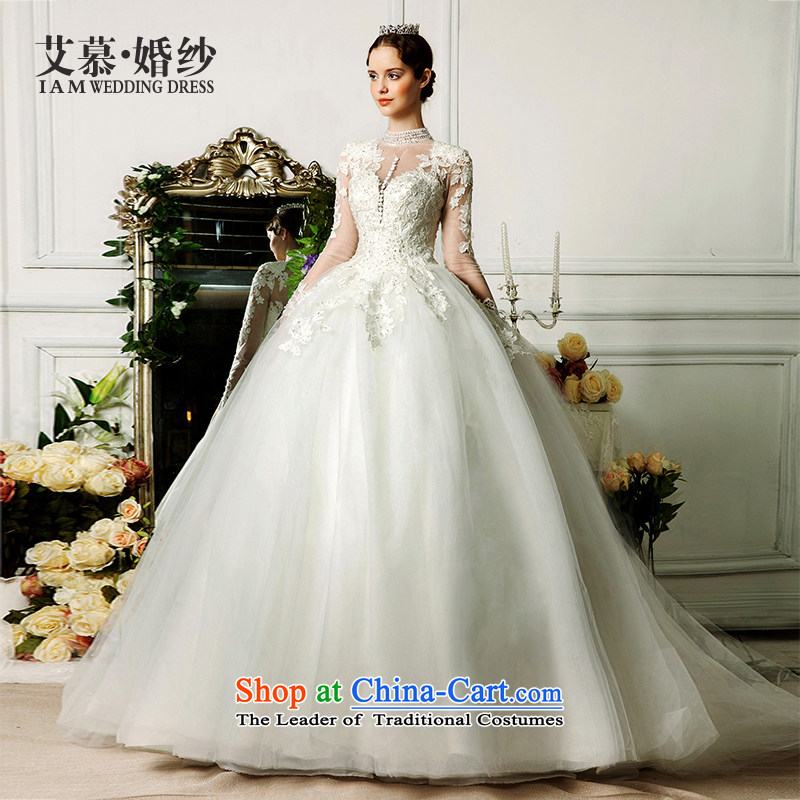 The wedding dresses HIV�2015 new cycle cloud collar long-sleeved lace long tail stars of the same wedding ivory�S