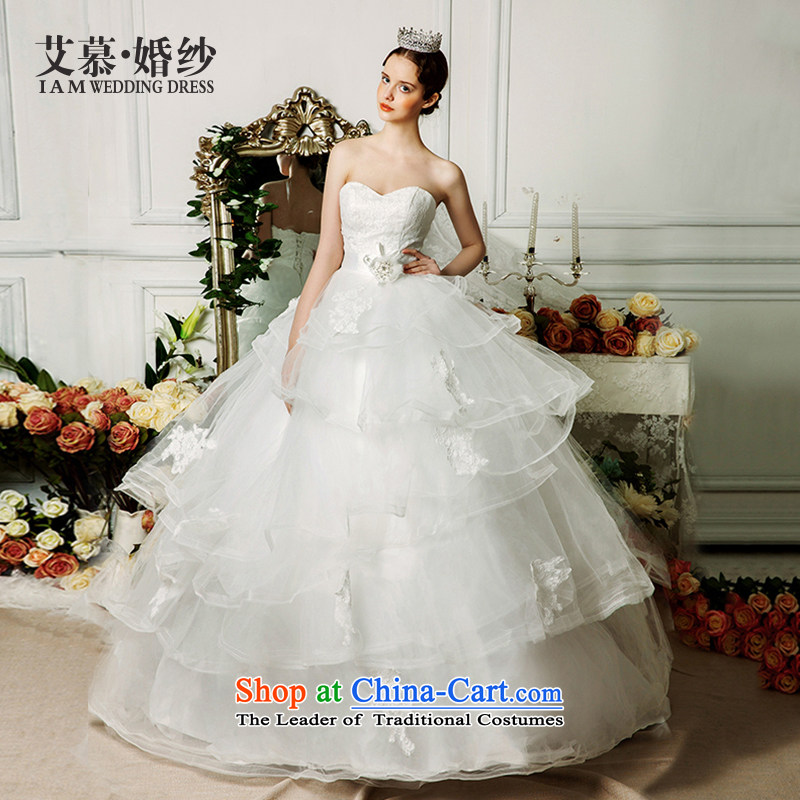 The wedding dresses HIV�2015 New Yasukuni Shrine Yao anointed chest lace bon bon skirt tail wind palace wedding ivory�M