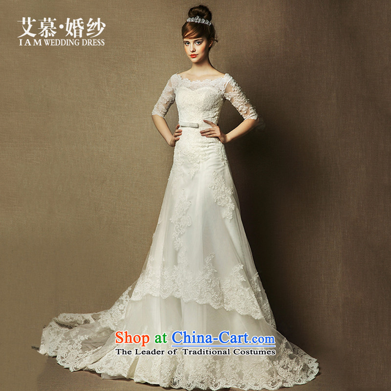 The wedding dresses HIV 2015 new Arabic word Sophie shoulder lace long-sleeved long tail wedding ivory�M