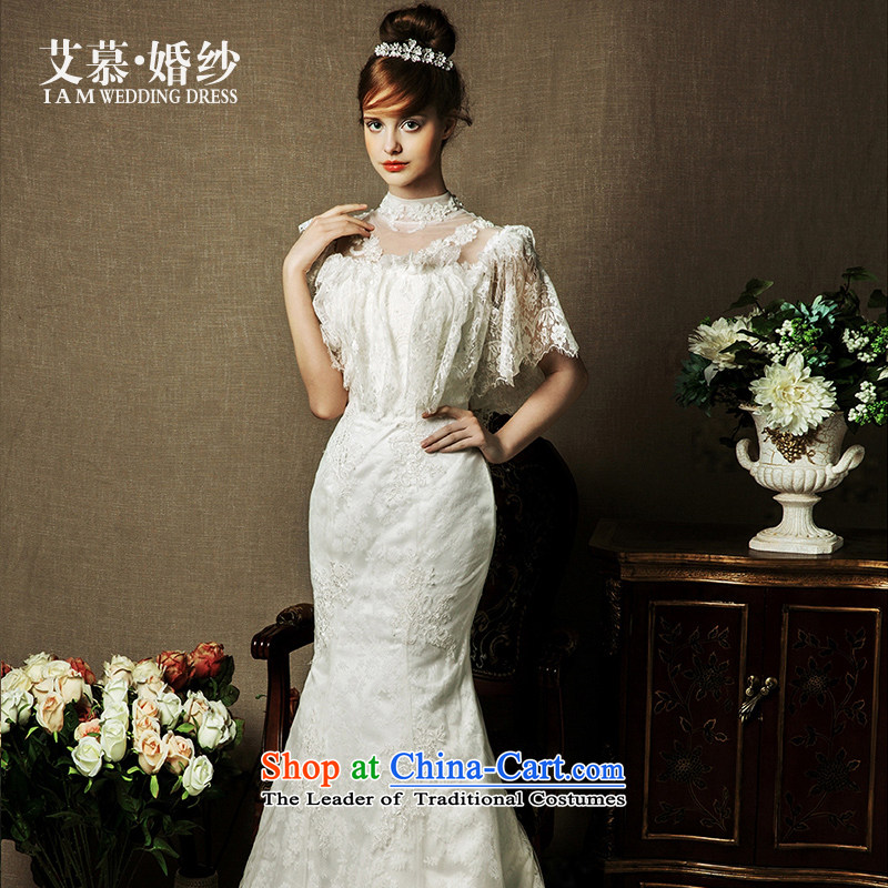 The wedding dresses HIV 2015 NEW MANCHESTER Tung lace collar crowsfoot long tail wedding ivory�M