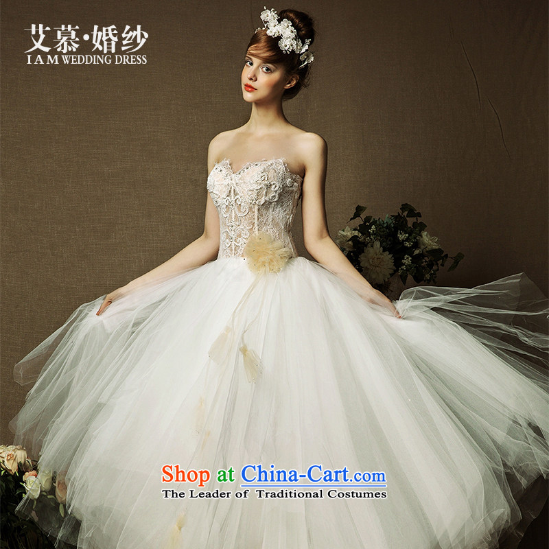 The wedding dresses HIV 2015 New Jin Xuan wiping the chest after short before personality champagne long wedding champagne color S