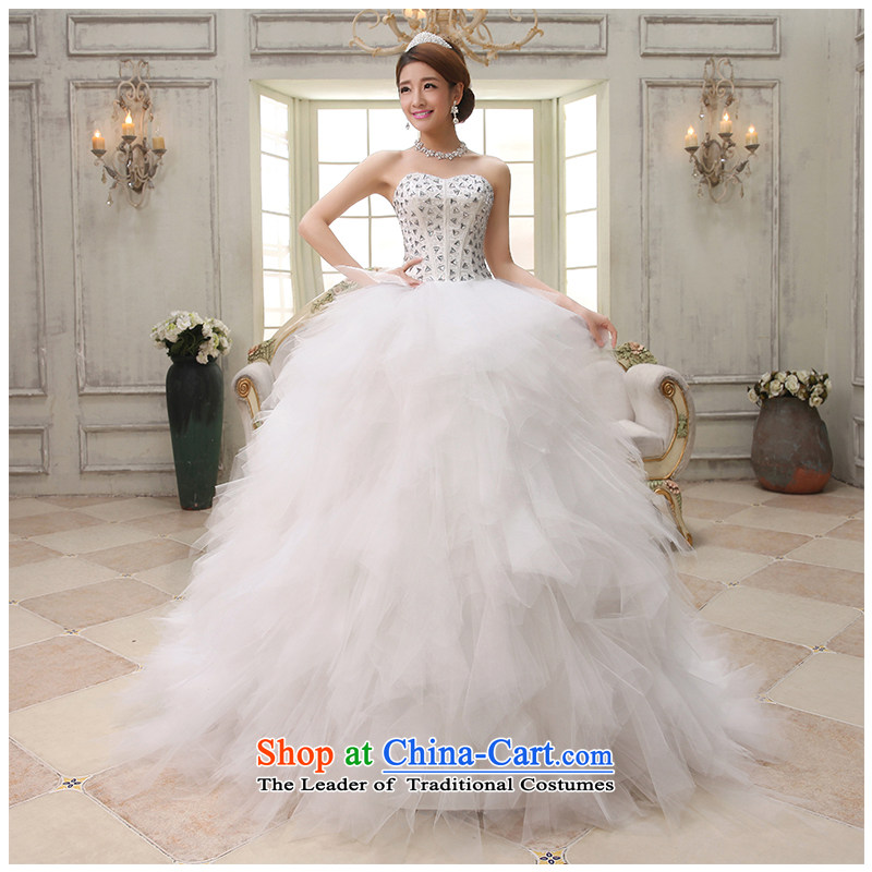 The beauty of the new 2015 anointed chest stylish marriages wedding tail diamond wedding temperament Ladies Floor, Sau San tie factory outlet White�XL