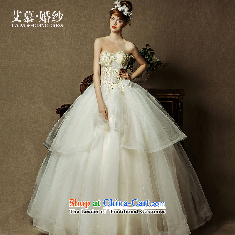 The wedding dresses HIV 2015 NEW LING FEI semi permeable lace anointed chest bon bon skirt champagne color wedding champagne color?S