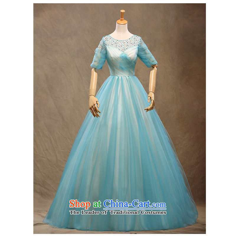 The beautiful new 2015 yarn a field to align the shoulder red bride wedding dresses Hand-stitched chic simplicity with video thin Sau San wedding package mail light blue�L