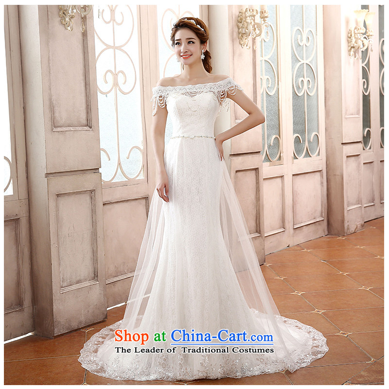 The beautiful word yarn shoulder bride small trailing foutune crowsfoot wedding stylish and simple lace Sau San tie photo building 2015 new wedding�H791�tail)�XL