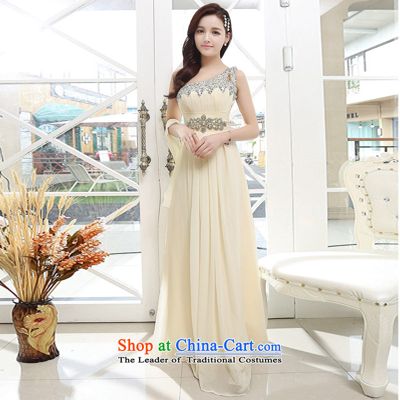 C.o.d.�UYUK�new bride wedding dress and long Sau San bows services shoulder drill water sexy Top Loin of elegant wedding dresses of the apricot�S