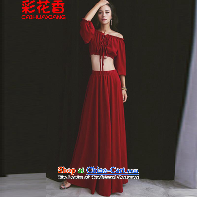 The fragrance of the?Word 2015 color for your shoulders with a leak of the Umbilical Top Loin of travel wedding Bohemia Beach Resort long skirt 8138 skirt red?S