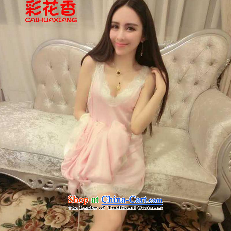 The fragrance of multimedia and�sexy 2015 V-Neck lace back after the skirt + jacket pajamas Kit 1177 Pink