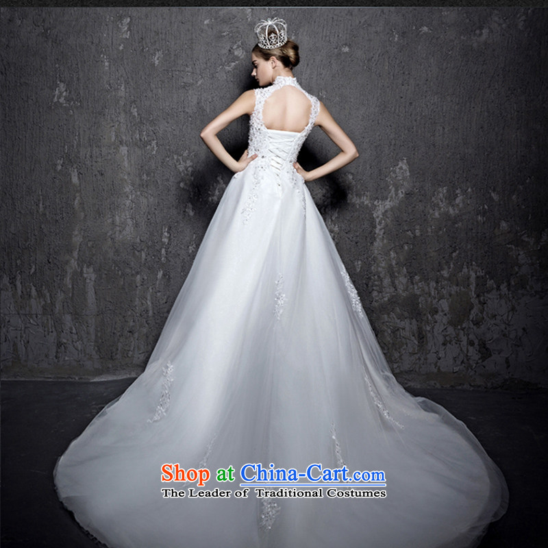 2015 new long tail wedding won the Word version in the thin waist straps shoulder larger custom bride wedding dress white streak to size do not return Not Switch