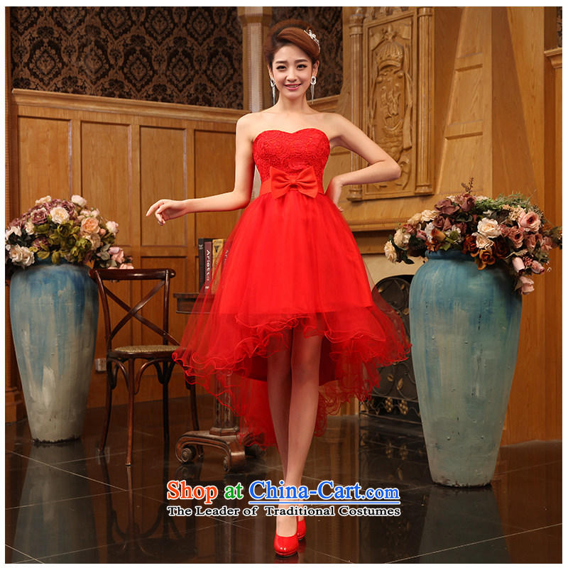 The beautiful yarn and chest short grows red lace short skirt tie bows service     Korean floor 2015 new products factory outlet short skirt red�S