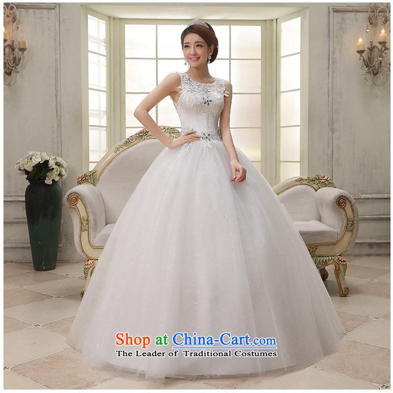 The beauty of the Summer 2015 new shoulders a field to align the shoulder sleeveless wedding Sau San simplicity with Princess Bride photo building photography wedding dresses White?XL