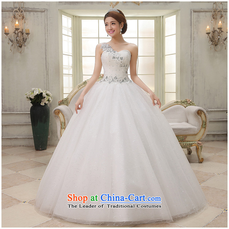 The beauty of the new 2015 shoulder to align the wedding Korean style with video appeared to Sau San minimalist wedding dresses Princess floor factory outlet white�S