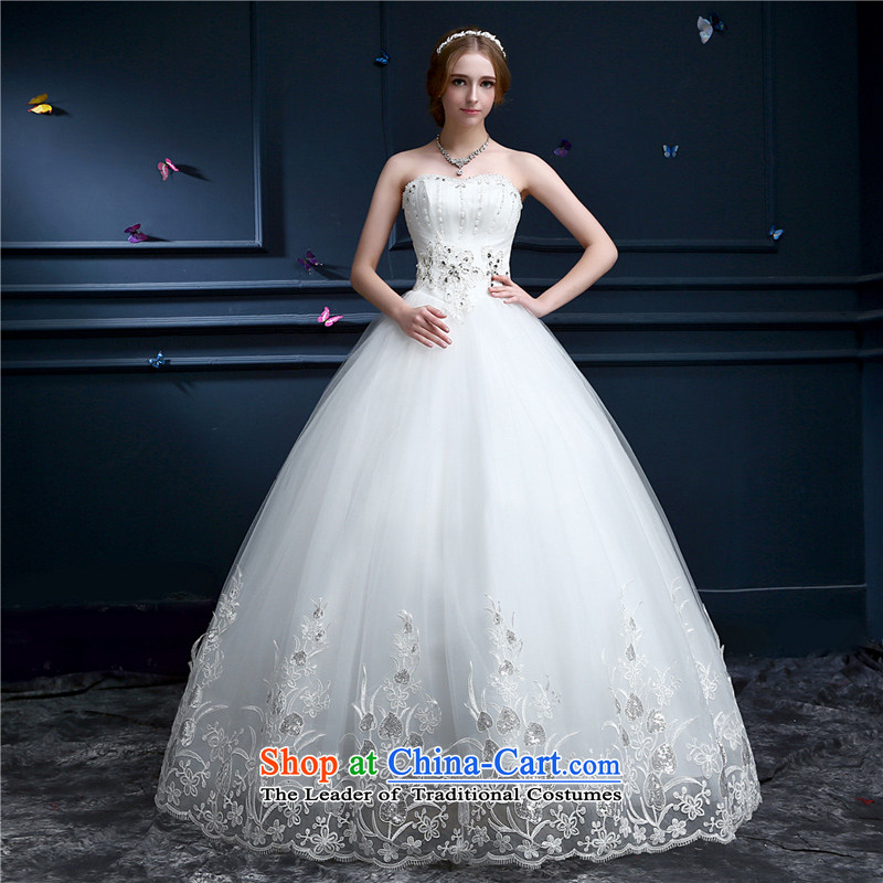 Hong LUN. Wedding dresses new spring and summer 2015 Korean Sau San video lace anointed chest thin large wedding Princess Bride-video thin white�L