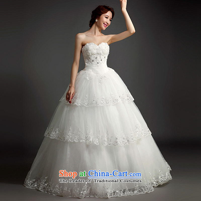 Ho full Chamber wedding dresses 2015 new Korean bridal lace white align to bind with wedding flower anointed chest video thin White�XL