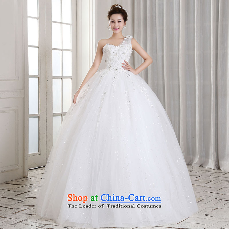 Millennium bride?2015 new Korean flower shoulder straps Princess Beveled Shoulder to align marriages wedding lace wedding dresses H310 White?M