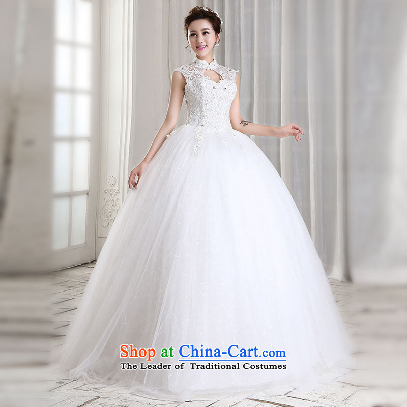 Millennium bride聽2015 new Korean lace shoulders wedding dresses to align the new package shoulder the word graphics thin shoulders bride wedding H3202 White聽M