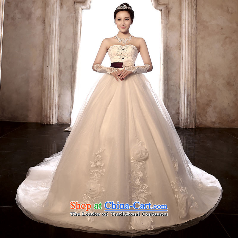 Millennium bride聽2015 new retro wiping the chest long tail wedding video thin stylish Sau San marriages straps wedding dresses H902 tail,聽XXL