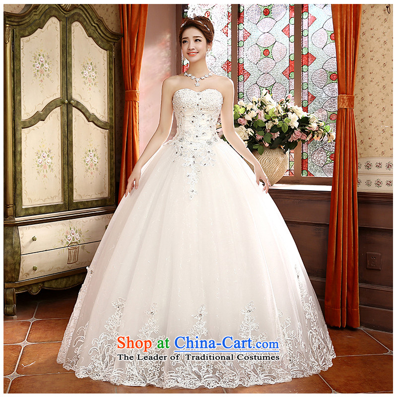 The beautiful yarn and chest with a stylish wedding Korean style with video thin Sau San minimalist lace large 2015 new direct wedding dresses made White?M spot