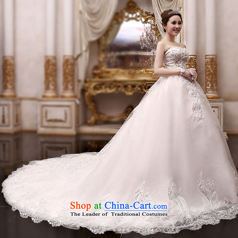 Millennium bride聽2015 Spring_Summer new Korean Sau San bride wedding dresses Korean long tail lights drilling water drilling luxurious wedding H901 tail_聽L