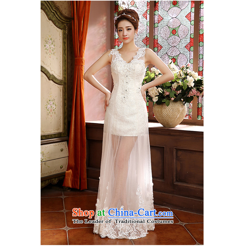 The beautiful yarn new 2 V-neck and shoulder the package of new products wedding fluoroscopy lace lace straps simplicity fashionable marriages wedding dresses White�M