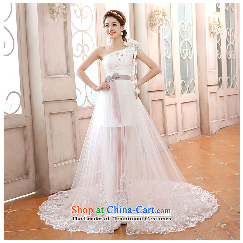 The beautiful yarn shoulder small trailing wedding lace front stub long after fluoroscopy trendy straps code graphics thin bride wedding dresses?2015 new factory outlet white?L