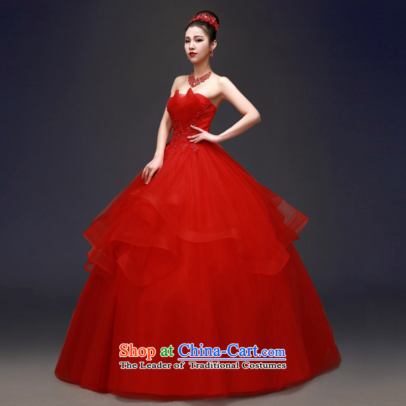 Each Connie red wedding dresses 2015 Spring_Summer anointed chest Korean Foutune of graphics to align the thin minimalist marriages bon bon skirt Fashion girl new summer to align the red red ballet?S